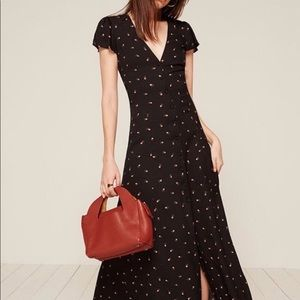 Reformation maxi dress black with pink rose buds